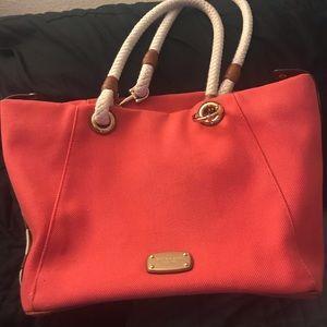 Michael Kors Red Marina Grab Bag Tote